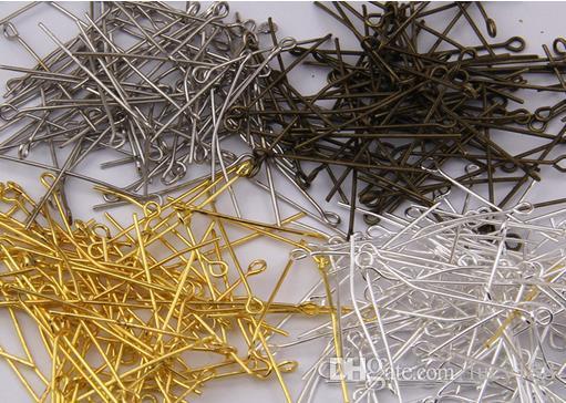 Eyepin risultati Nuovo Arriva100pcs / lot oro placcato testa di ferro pins pins misura monili che fanno 26mm argento all'ingrosso bronzo nichel colore