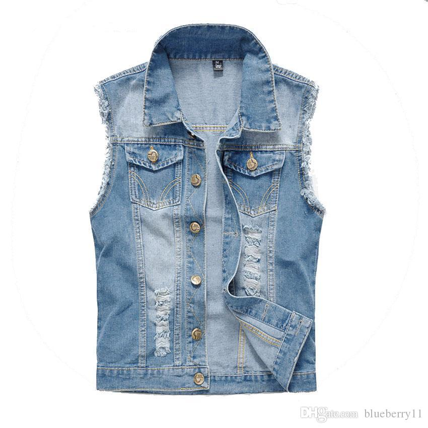 Autumn Vintage Design Men's Denim Vest Male Slim Fit Sleeveless Jackets Men Brand Hole Jeans Waistcoat Plus Size M-6XL