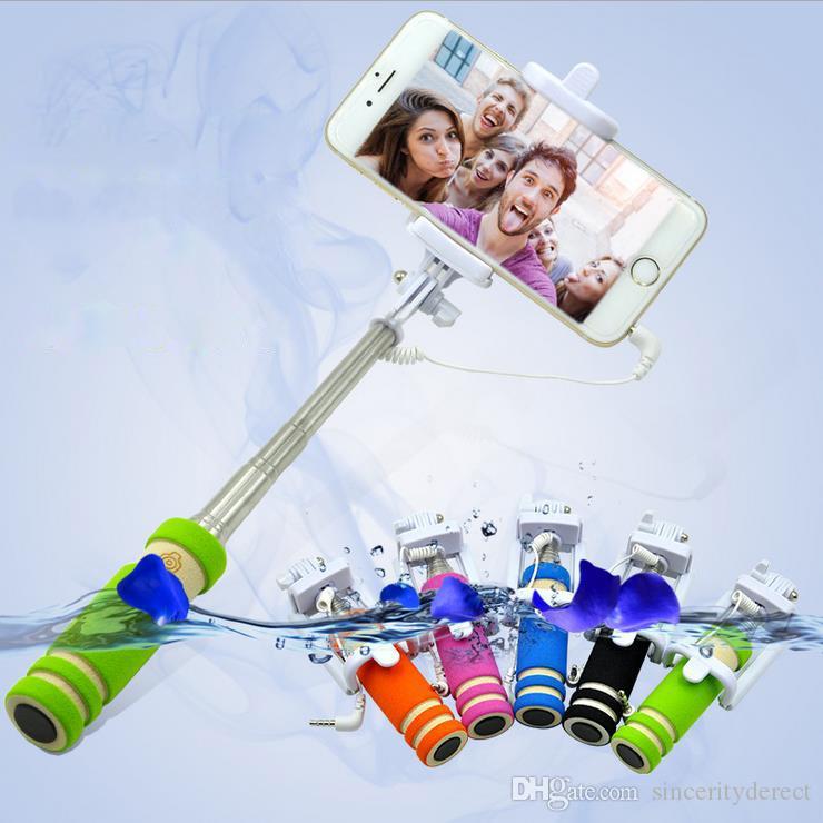 Pliable Super Mini filaire Selfie Stick Stick Handheld Portable Mousse pliable Mousse Folf-Portrait Stick avec câble pour Case Sansung iPhone