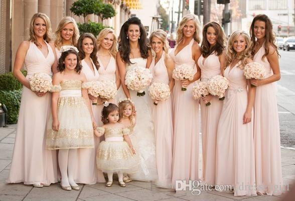 Light Pink Wedding Bridesmaid Dresses