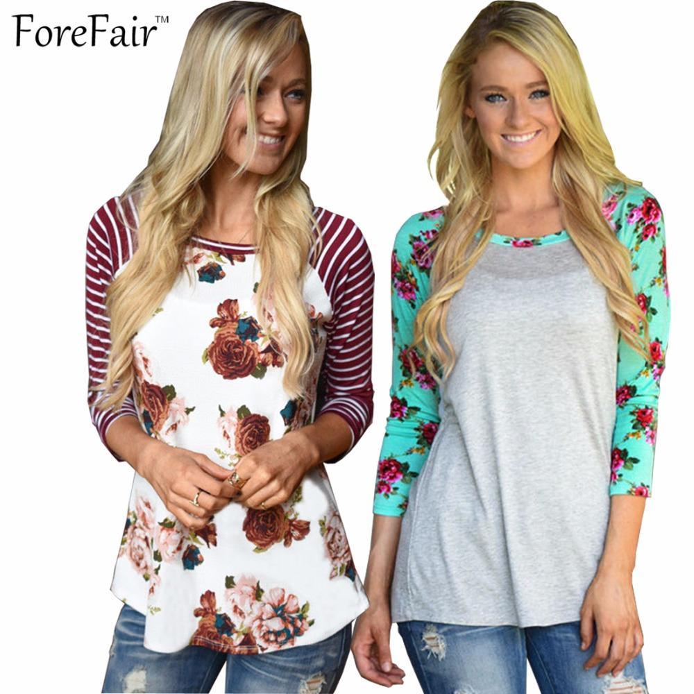 Großhandels- ForeFair S-3XL 3/4 Hülse streifte Blumendruckt-shirt Frauen 2016 Rundhals dünnes Patchwork beiläufiges blusa plus Größenmädchen übersteigt