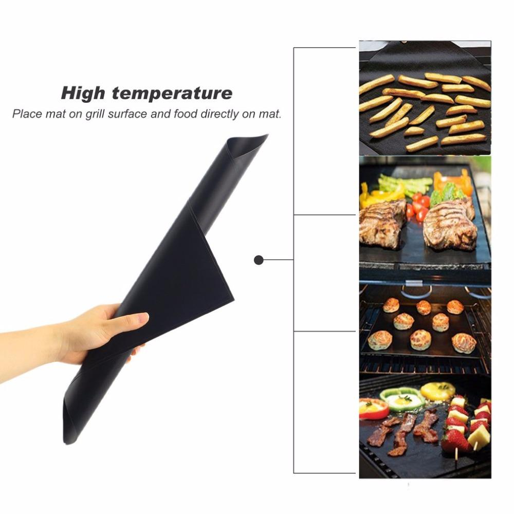100 pcs Reusable No Stick BBQ Grill Mat Baking Easy Clean Grilling Fried Sheet Portable Outdoor Picnic Cooking Barbecue Tool