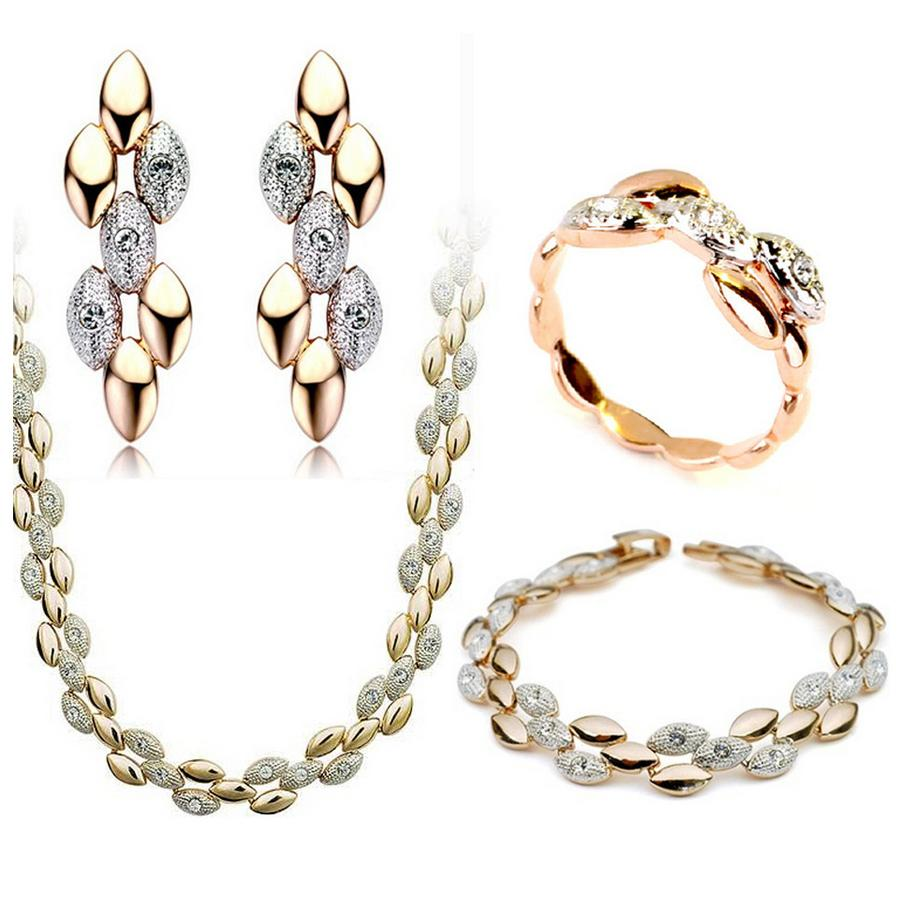 Luxury Wedding Austrian Crystal Jewelry Set Famous Name Brand 18K Gold Plated Grain jewelry set Spike of Rice Jewelry Acessories 4pcsc/Set