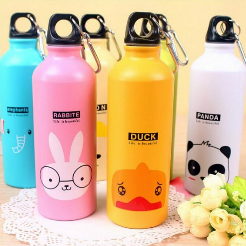 Wholesale- Cheap New 1PC 500mL Cute Animals Aluminum Sport Water Bottle Bicycle Kettle Gym Kettle Running Mountaineering Bottles