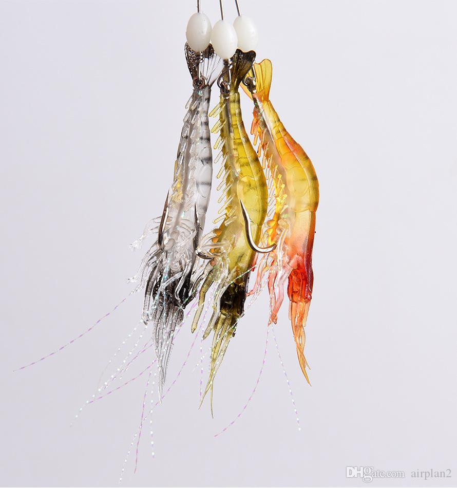 Оптовая продажа рыболовных приманок Бионические искусственные креветки приманка мягкая приманка с крюком светящиеся ночью накаляться на бисером рыболовные снасти пески крючки