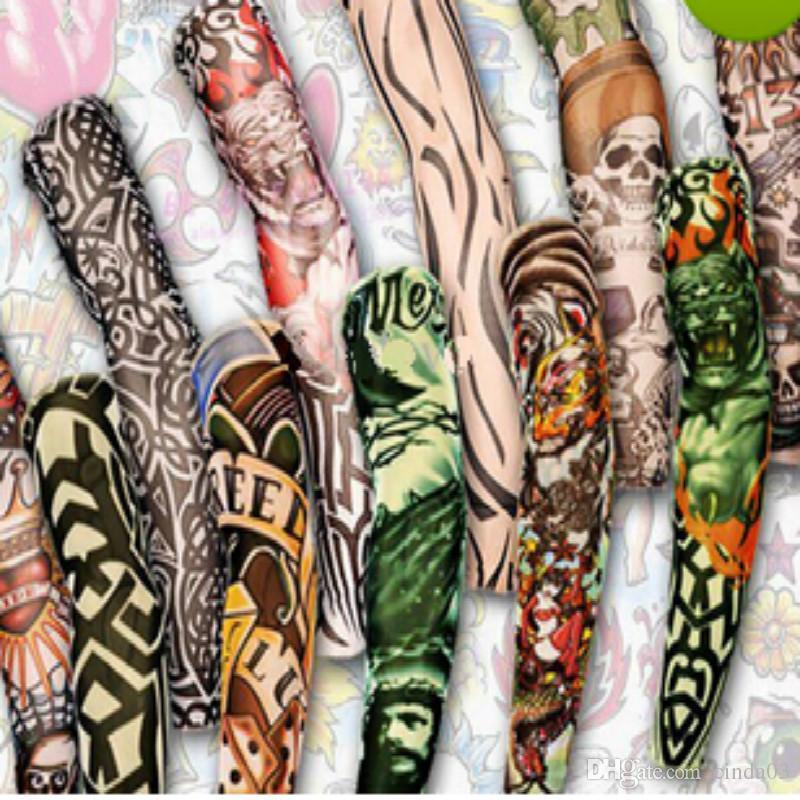 12 pcs mix Frete grátis elástico Falso manga tatuagem temporária arte 3D projeta o corpo braço perna meias tatoo legal