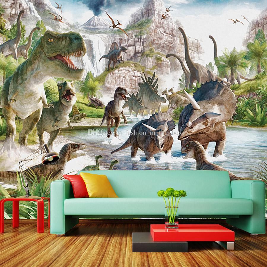 Jurassic Dinosaur World Wallpaper Custom 3D 5D Wallpaper Vintage Wall Mural  Kids Boy Bedroom Living Room Hotel Art Interior Decoration Mural Desktop ...