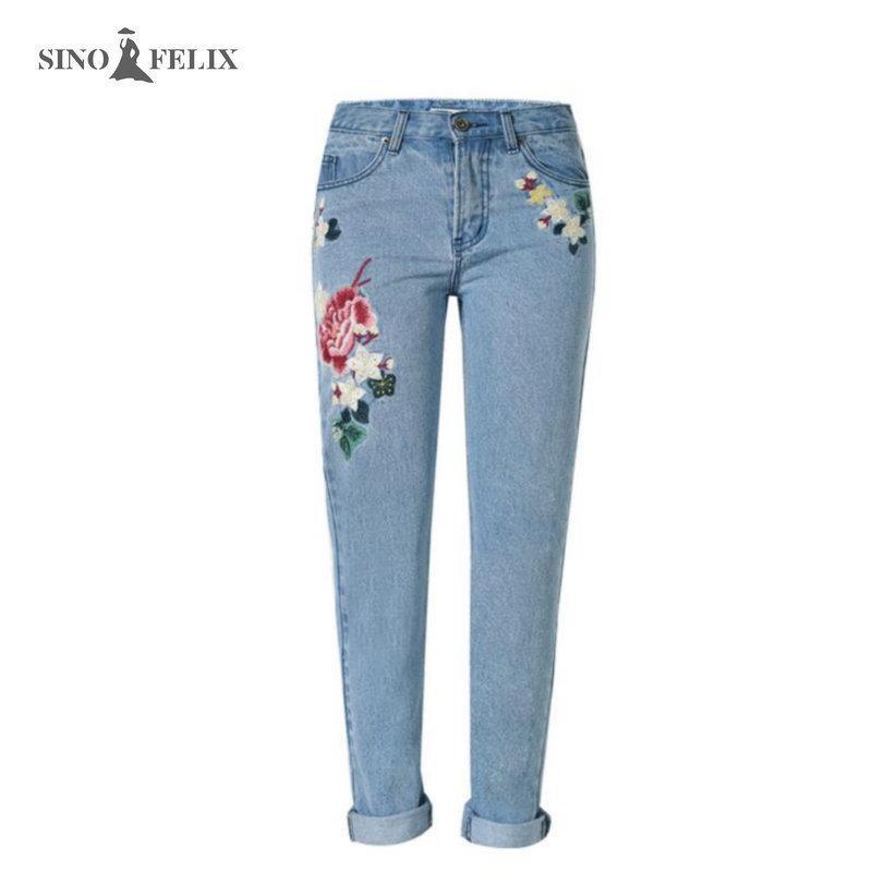 Commercio all'ingrosso- 2017 primavera nuove donne dolci ricamo floreale pastoralismo jeans jeans tasca antincendio pantaloni pantaloni signore cattura casual top118