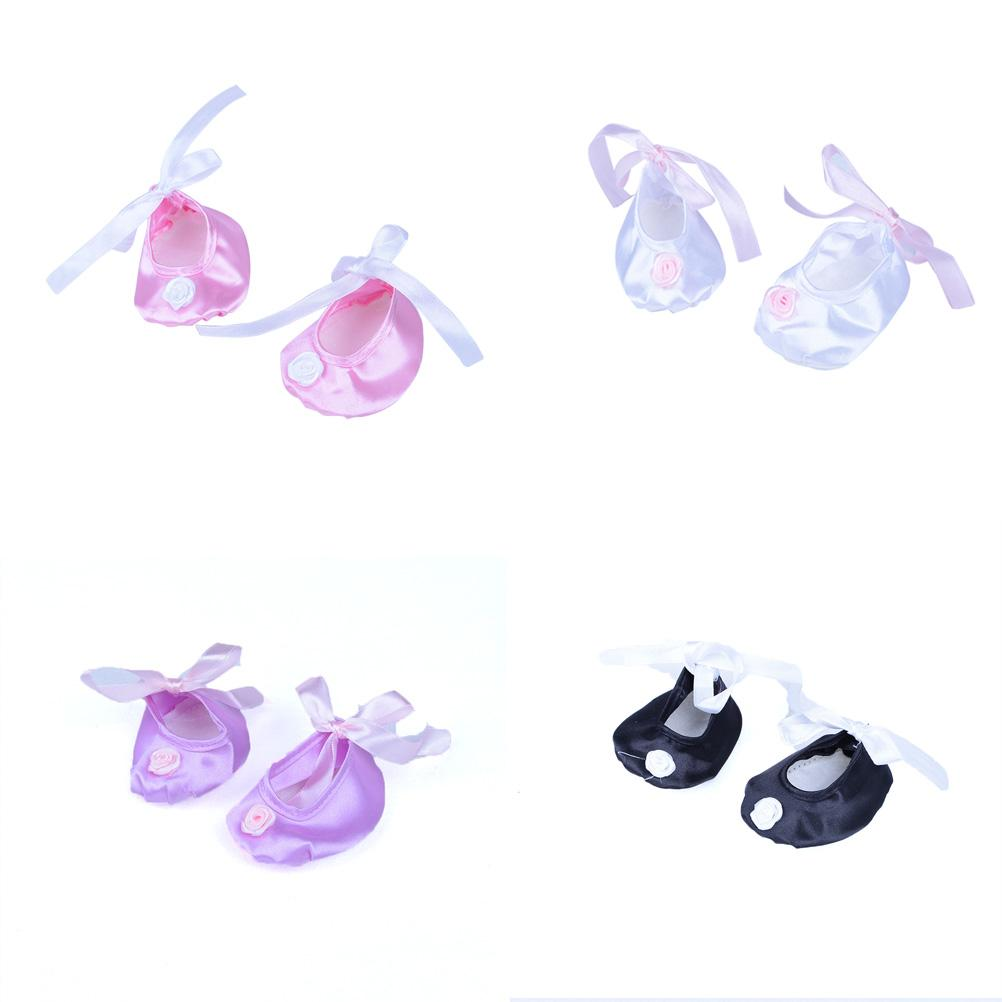 1Pair Ballet Satin Slippers Dance Shoes fits for American Girl 18'' inch Dolls Gift Our Generation Girl Shoes Doll Accessories