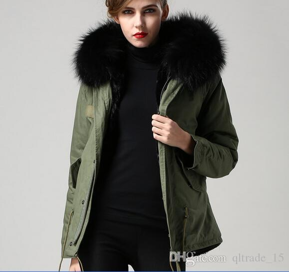 short style Black raccoon fur trim Meifeng brand ladies snow coats black rabbit fur lined army green canvas mini parka
