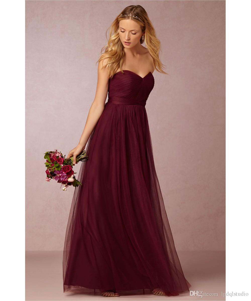 Burgundy Bridesmaid Dresses Soft Tulle Long Bridesmaid Gowns Sweetheart  Long Plus Size Bridesmaid Dress Royal Blue,Yellow,Black Bridesmaid Dresses  ...