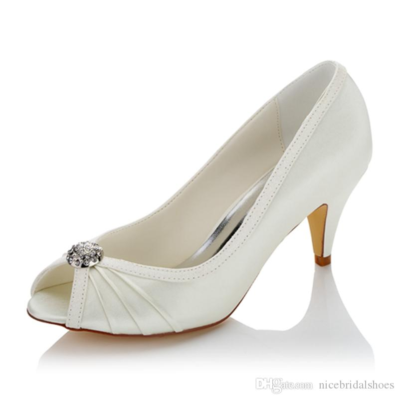 Nice Peeptoe Satin upper Women Wedding evening shoes High Heel Bridal Shoes Party Prom Women shoes Size 35-42