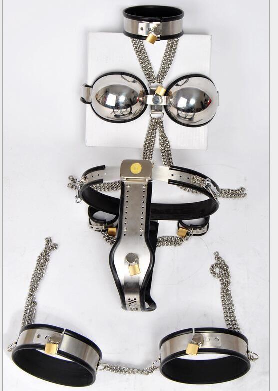 Vrouw volledig verstelbaar roestvrij staal 5 stuk sets kuisheidsgordel apparaat kraag bh handboeien been ringen volwassen bondage bdsm sex speelgoed