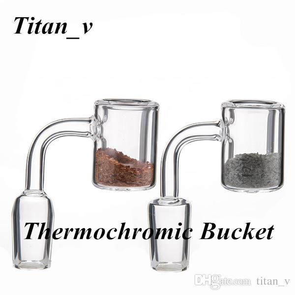 Thermochrome Eimer mit Quarz Sand Banger Nagel 10/14 / 18mm Männlich Weiblich Klar Joint Glas Carb Caps Ölplattformen Dabbers Metall Rohre Titan_v