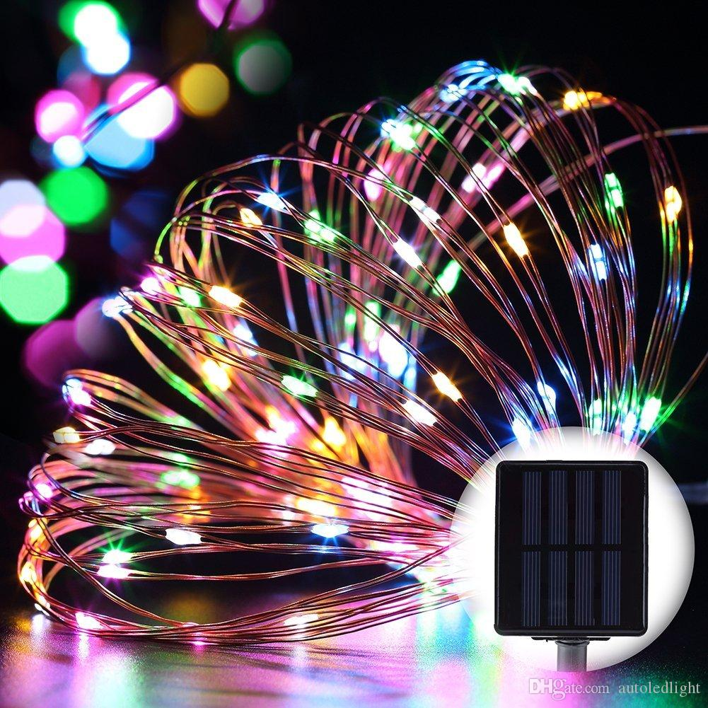 solar power Christmas lights 8 Colors 10m 100 LED Copper Wire LED String Light Starry Lights holiday lights