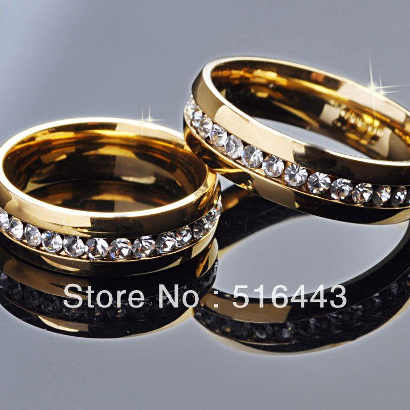A-347 pleine de acier inoxydable strass tchèque plaqué or 18 carats engagement anneaux de mariage en gros de bijoux à la mode