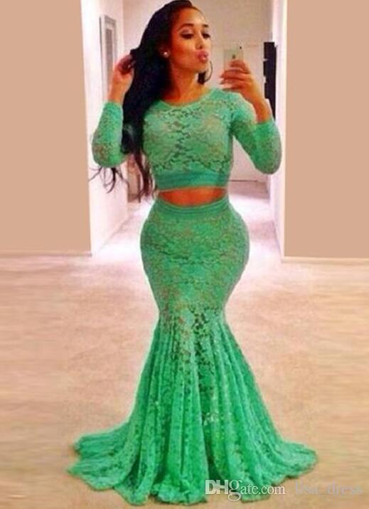 Hot Sale Mint Green Lace Long Sleeve Prom Dresses Plus Size For 2016  Mermaid Women Prom Dress Short Tight Prom Dresses Strapless Prom Dress From  ...