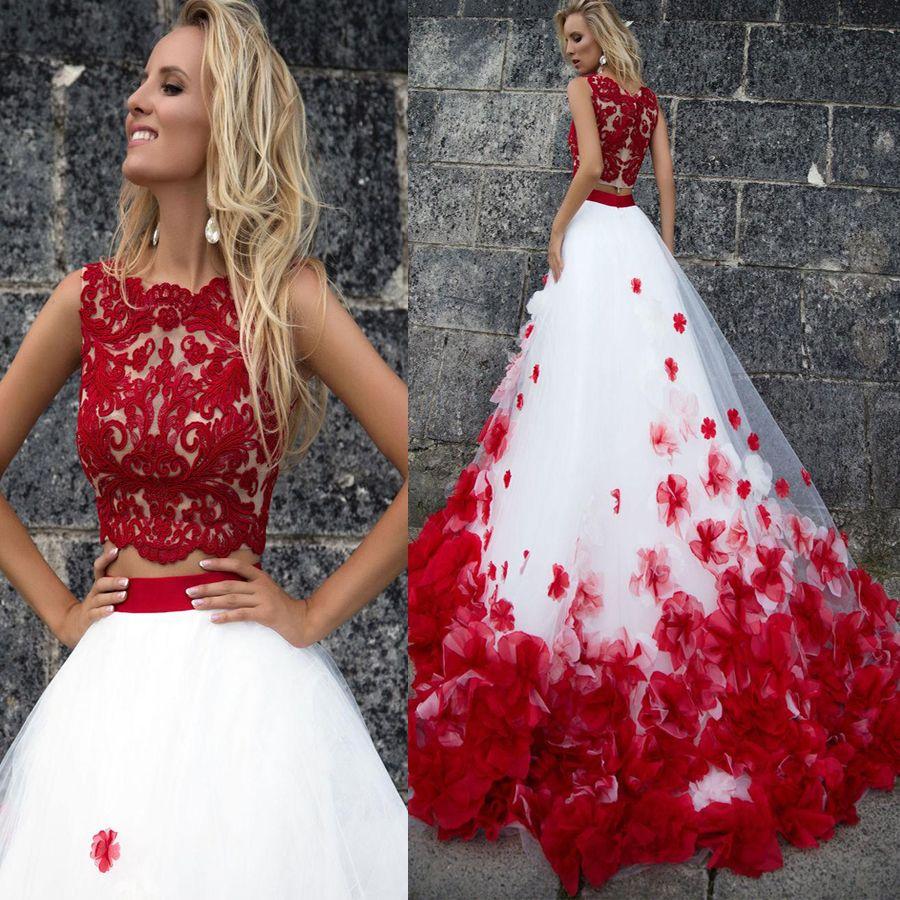 Beach 3D Boemia Fiore White Lace Red Tank Abiti da sposa Due Pezzi Beach Wedding Gowns Vestido De Noiva Buttom Romantico