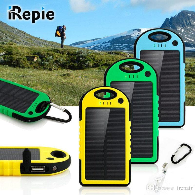 iRepie Portable Waterproof Solar Power Bank 5000mah For Xiaomi 2 Iphone External Battery Charger Solar Panel Mobile Phone Powerbank With Led