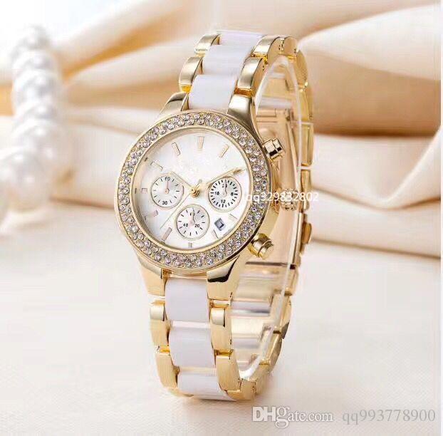 2019 Lüks etiketi yeni Marka Moda Tasarımcısı bayanlar altın İzle beyaz Elbise tam elmas saatler kadınlar seramik bilezik paslanmaz çelik saat