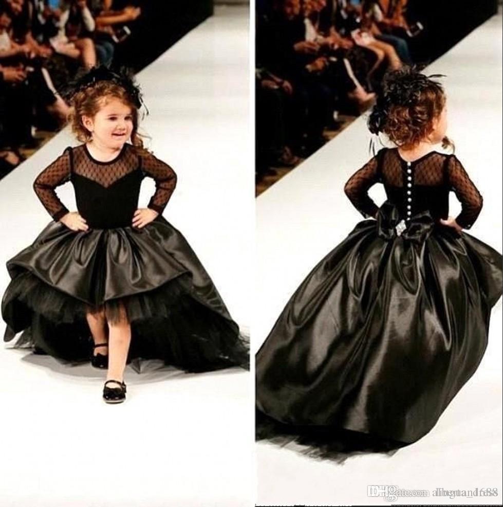 Compre Vestidos Negros Del Desfile De Niñas Pequeñas Mangas Largas Del Cuello Redondo Hi Lo Vestidos Niñas De Las Flores Vestidos De Fiesta De Boda