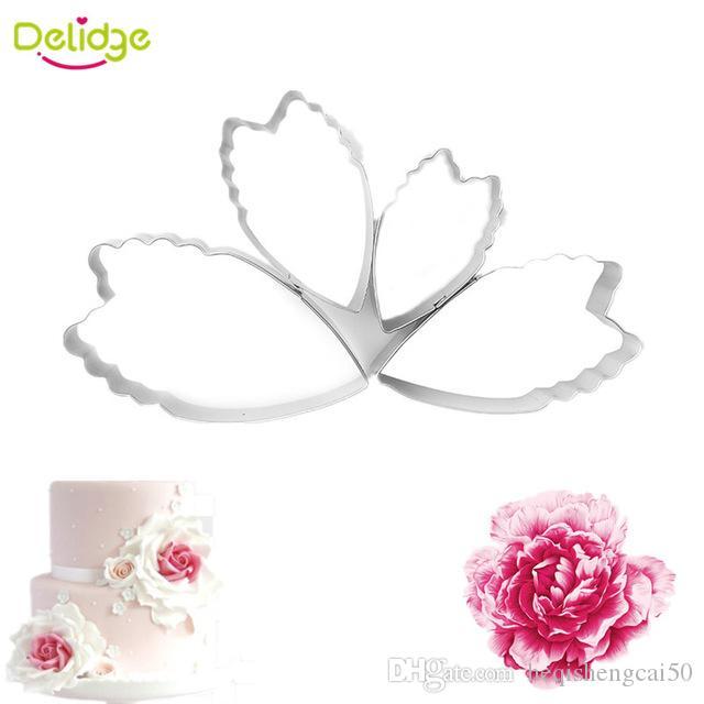 Delidge 4 pcs/set 3D Peony Flower Petal Cookie Mold Stainless Steel Fondant Cake Cookie Cutter Decorative Mould Baking Utensils