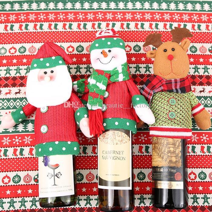 10pcs jolies ensembles de bouteilles de vin de Noël couvrent les fournitures de fête d'événement Christmax mignon Favoris Champagne Accueil Décoration Père Noël / Bonhomme de neige / Elk