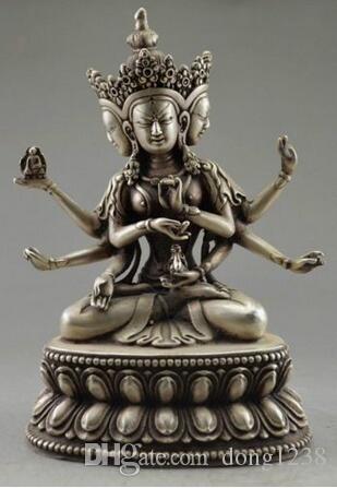 De Noel Decoratif vieux.tibet cuivre placage argent 조각 Bouddha 법령 3 프리미어 6 브래지어 할로윈