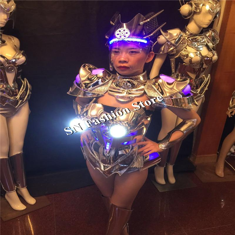 BS05 Silver bar ballroom dance led costumes helmet lighted sexy dresses singer wears stage models car robot clothes music dj