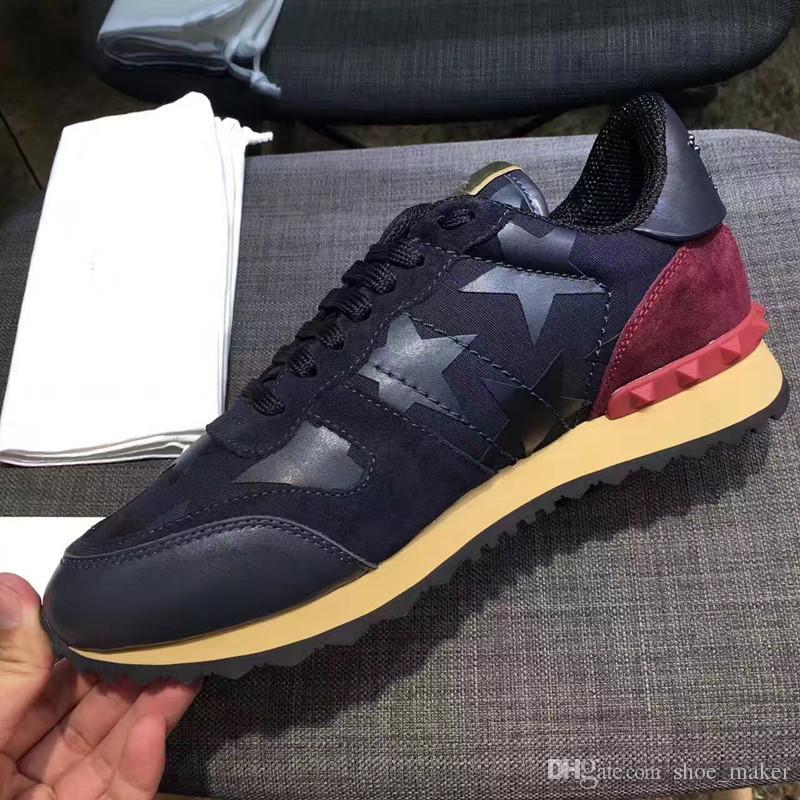 2017 zapatos mejor calidad amante shoes size35--44 cuero genuino stud camo sneakers corredores v negro blanco pink lujo diseñador amour rojo azul