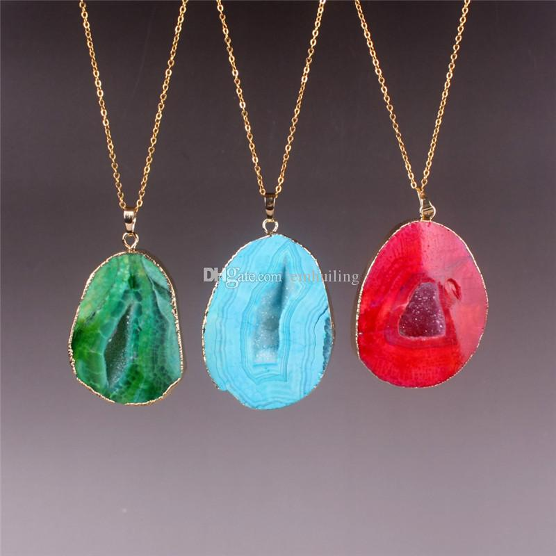 Druzy Geode Necklace Multicolor Green Blue Orange Red Rose Red Geode Collana Crystal Geode Jewellery Druzy Quartz Pendant Copper Chain