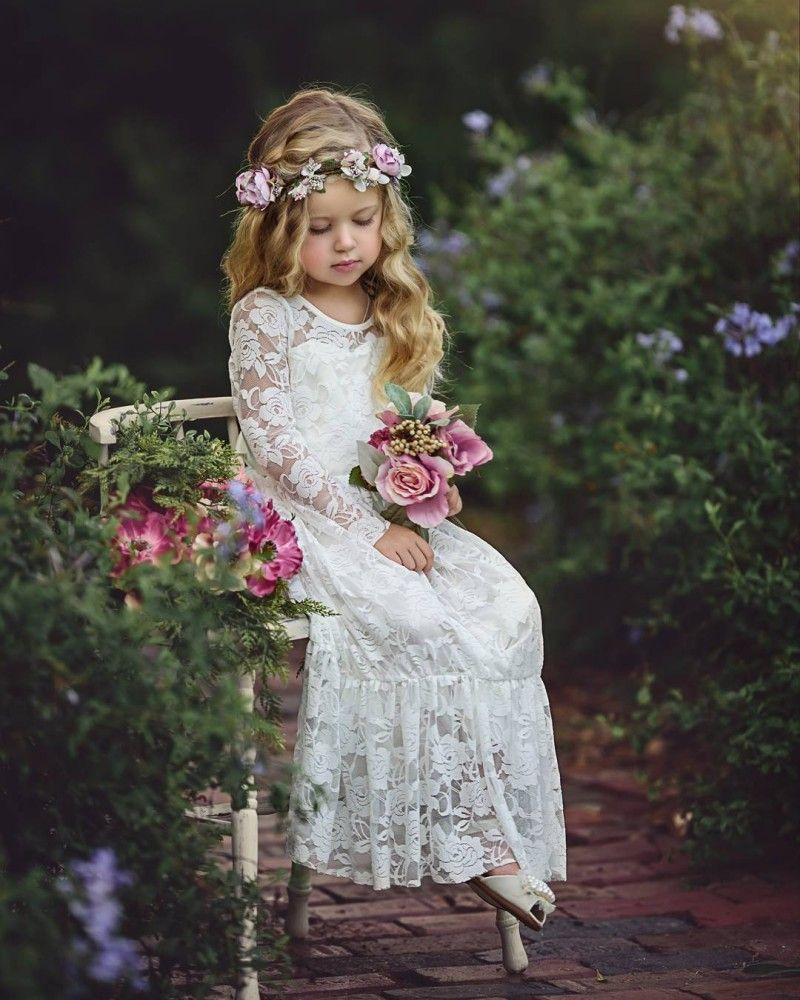 Großhandel Langarm Boho Blume Mädchen Kleider Für Hochzeit Bodenlangen  Spitze Kleine Kinder Erstkommunion Kleid Vintage Günstige Pageant Kleider  Von