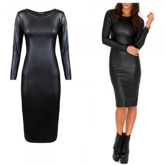 Russia's foreign trade export to Europe and the United States Club dress  leather bag hip knee long sleeved T-shirt tight pencil skirt 2018 from ...