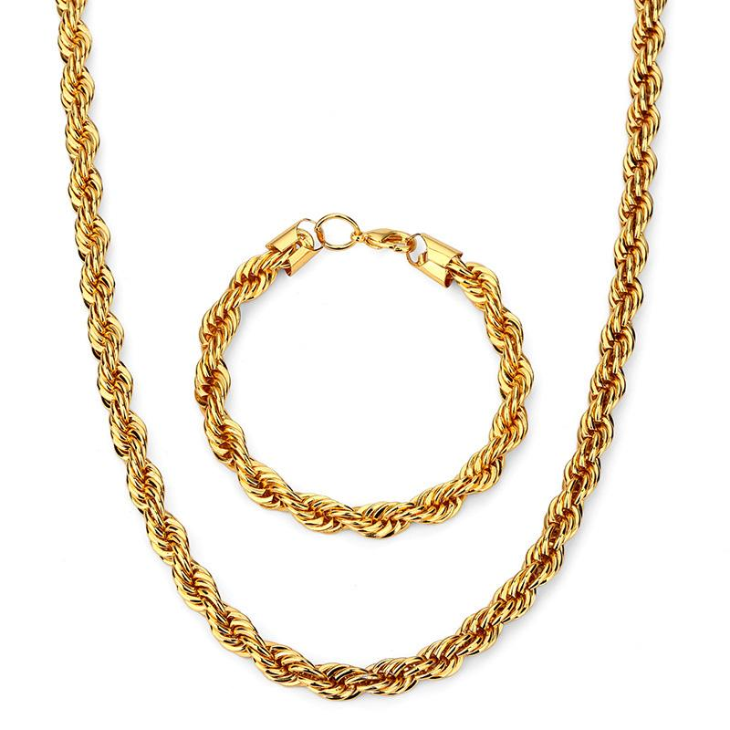Top Quality Hip Hop Corda Collana a catena Bracciale Rock Rapper Set di gioielli Per uomo Donna 75cm * 8mm, 21cm * 8mm