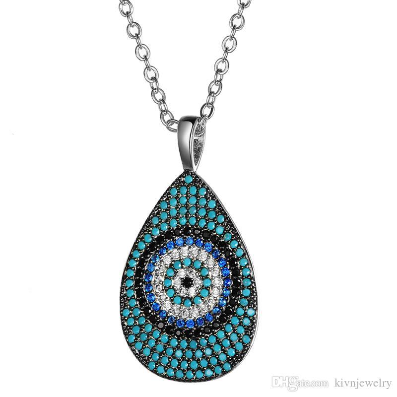 KIVN Fashion Jewelry Spiritual Blue Evil Eye Pave CZ Cubic Zirconia Bridal Pendant Necklaces for Women