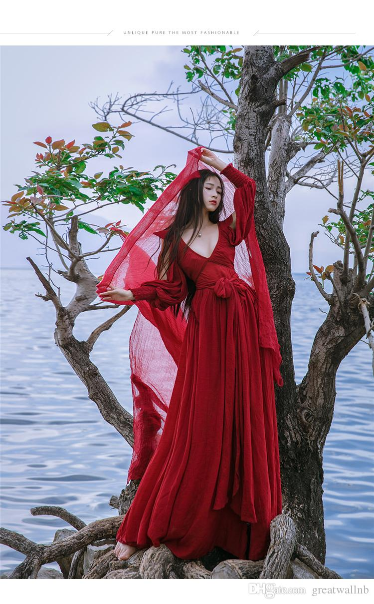 Envío gratis ramie algodón vino rojo V cuello largo vintage vestido medieval Renacimiento princesa traje de hadas vestido victoriano / Marie