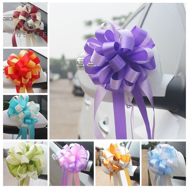 Eco Friendly 50Pcs estilo francés pull flor de la cinta arcos de Navidad en casa de decoración del papel de regalo Flores color mixto, decoración de la boda de coches