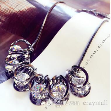 Lüks kristal parlak kısa paragraf kazak zinciri klavikula zinciri kadın aksesuarları kolye kolye