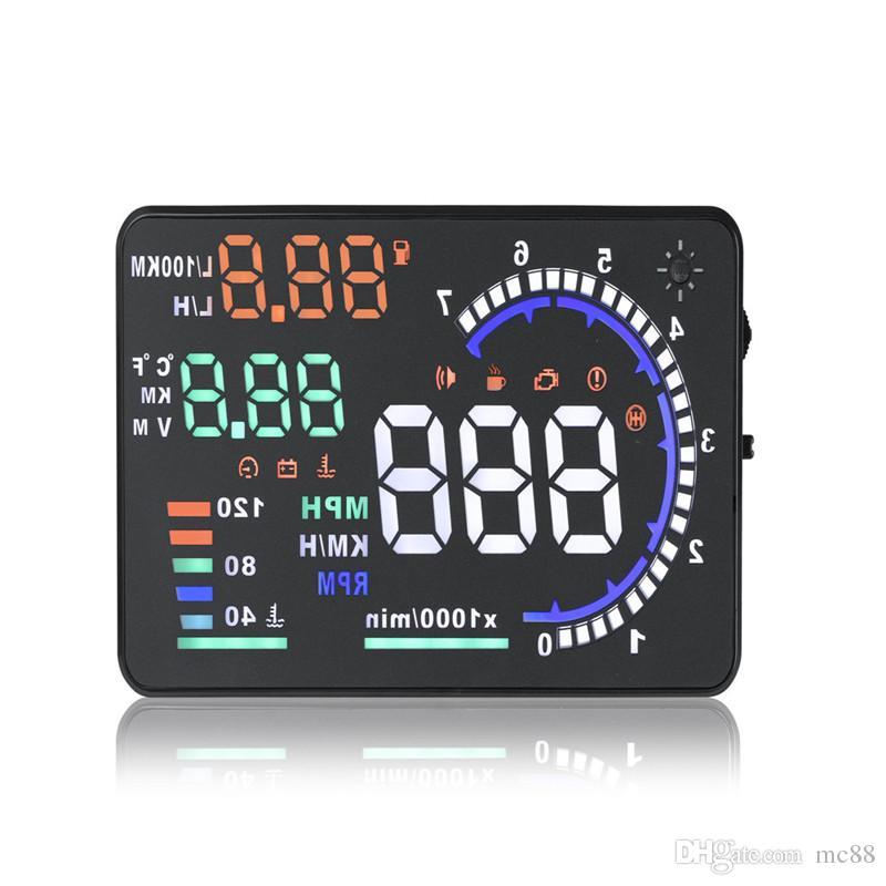 "New Universal 5.5"" Car A8 HUD Head Up Display with OBD2 Interface Plug & Play KM/h MPH Speeding Warning"