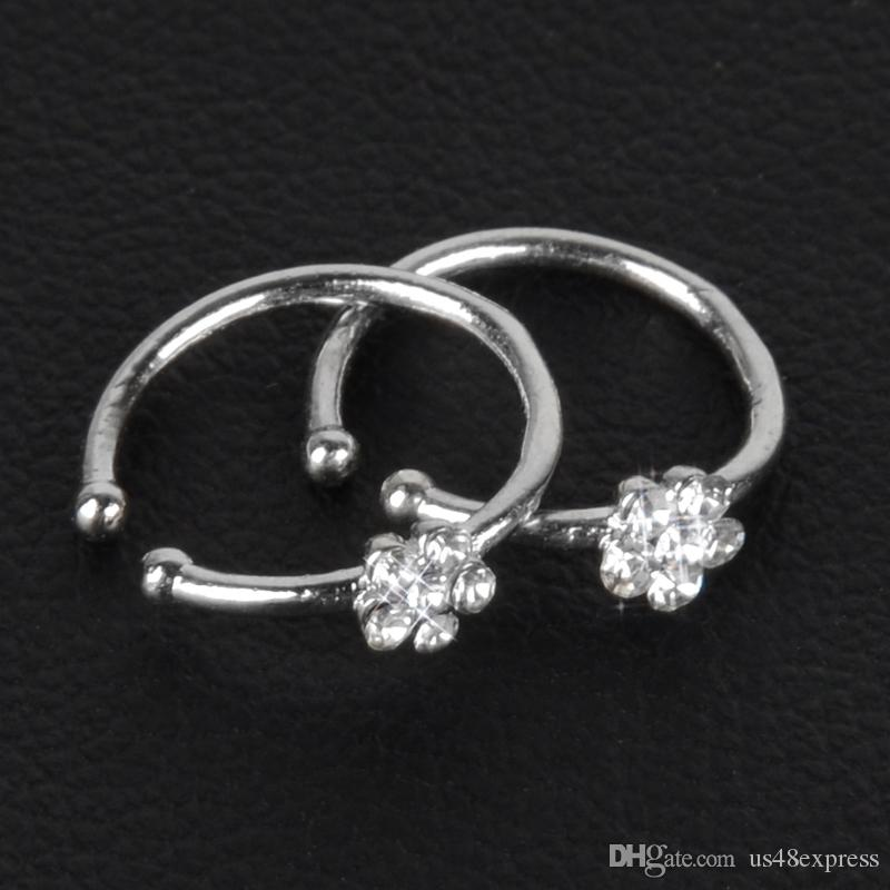 2020 Small Thin Flower Clear Crystal Nose Ring Stud Hoop Sparkly