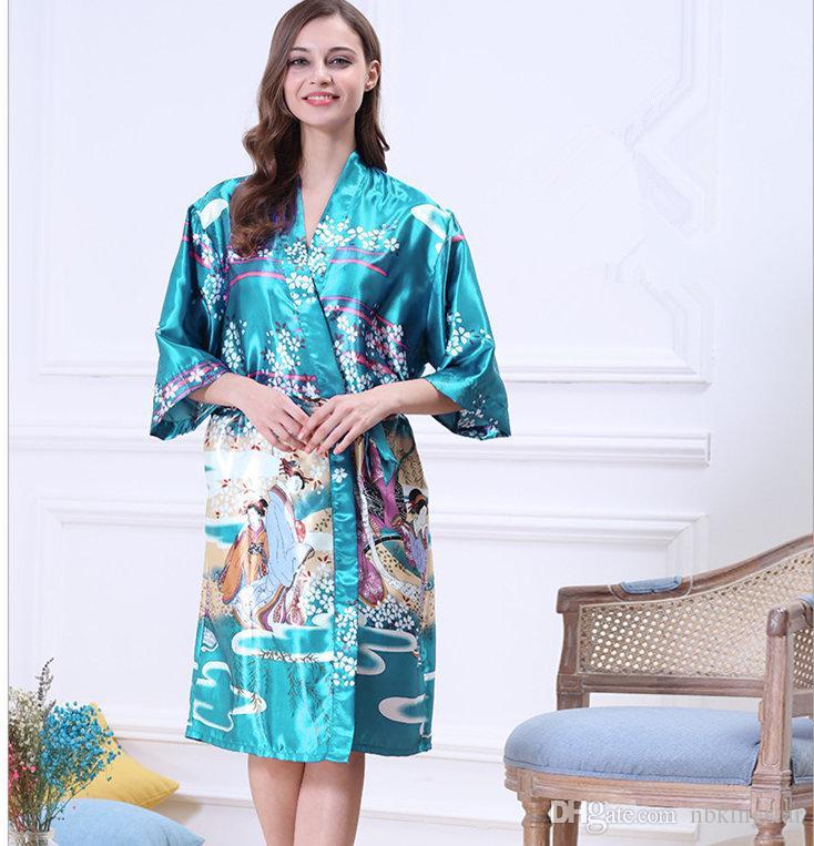 Женщины Японский Юката Кимоно Ночная Рубашка Печати Цветочный Узор Атласный Шелк Старинные Халаты Сексуальное Женское Белье Пижамы Пижамы