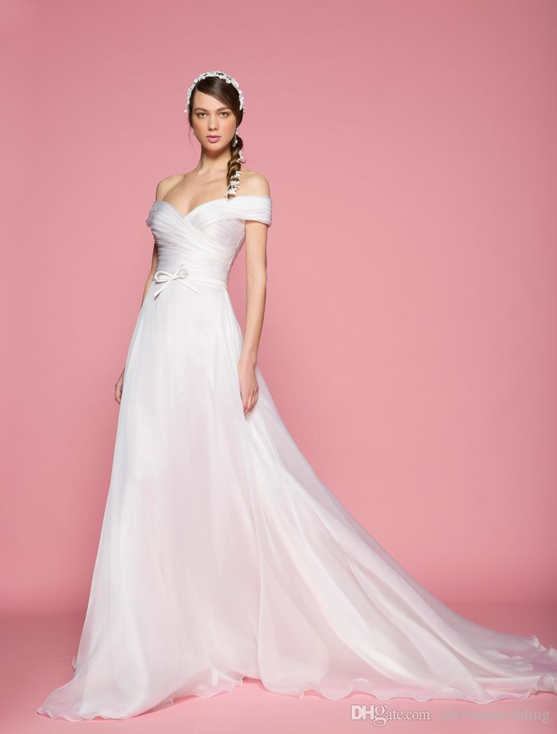 Discount 2 Modes Simple Clean Off The Shoulders Pleats Wedding ...