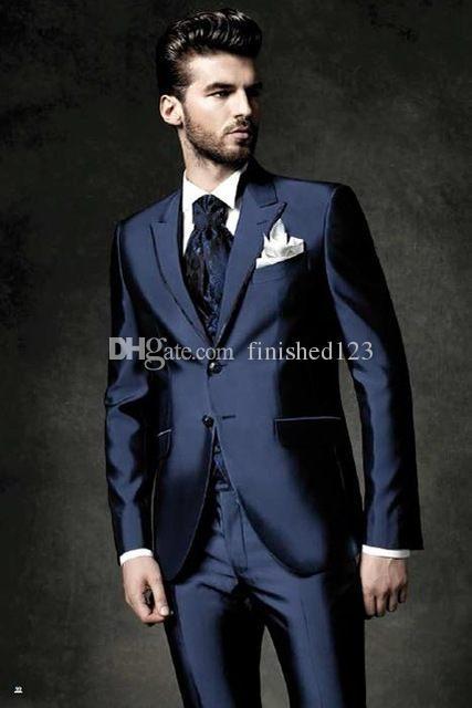 Damat Smokin Groomsmen Iki Düğme Lacivert Tepe Yaka Best Man Suit Düğün erkek Blazer Suits Custom Made (Ceket + Pantolon + Yelek + Kravat) K199