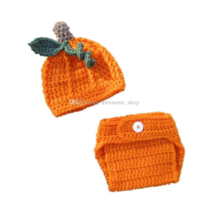 Newborn Baby Boy Girl Pumpkin Hat Crochet  Halloween Photo Prop Knit Outfit