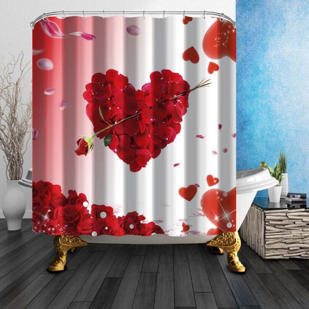 Neue Ankunft Rose Heart Fashion Dusche Vorhänge 180 * 180 cm Dekoration Wasserdicht Polyester Stoff Duschraum Hängen Vorhang