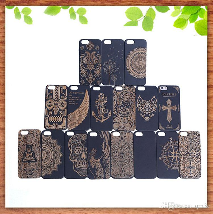 Hot Selling Solid Wood Phone Case For Iphone 7 6 6S Plus Bamboo Hard Cover Cases Engraving Wooden Shell For Apple Iphone 6plus