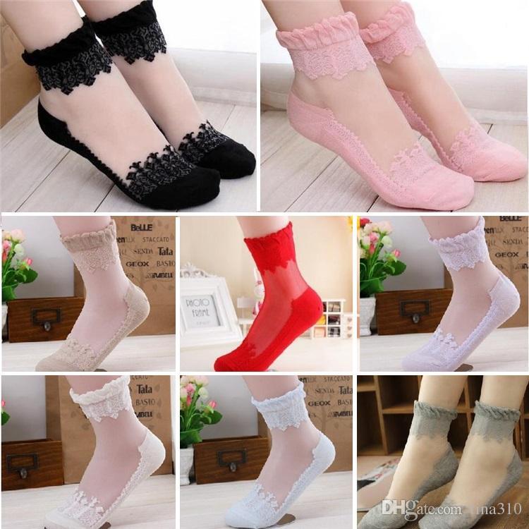 Moda Donna Calze Ultrasottile Trasparente Rosa di cristallo elastica Short Sock