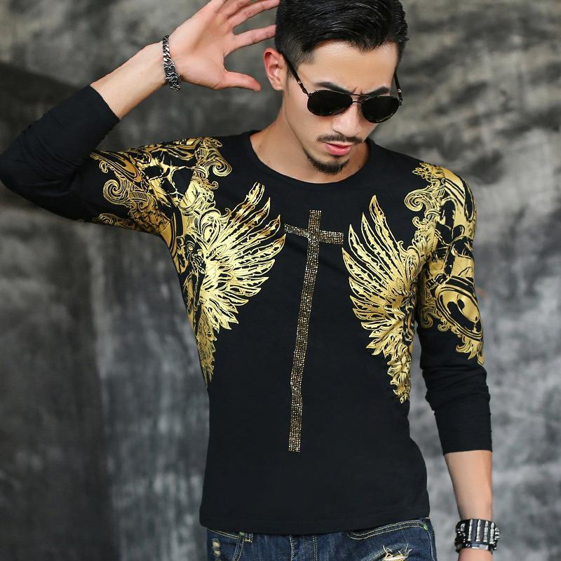 Toptan-2016 Son sürümü rahat moda erkek gömlek Kaya tarzı erkek sonbahar giyim erkek Bronzlaşmaya uzun kollu Marka t-shirt tops