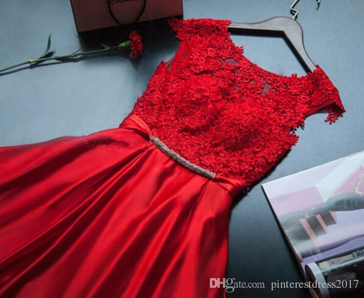 20505c67e287b ... Abendkleider Kırmızı Uzun Abiye Elbise ile Dantel Aplikler ve Yay Robe  de Soiree Kırmızı Balo Elbise ...