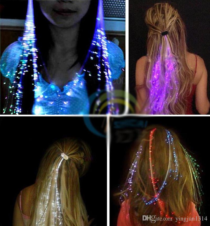 الجملة الوهج وامض مقطع الشعر فلاش LED جديلة تظهر الطرف الديكور ملون مضيئة جديلة الألياف البصرية سلك دبوس الشعر
